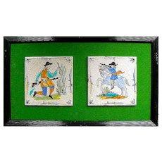 Pair of Mounted Delft Ceramic Tiles