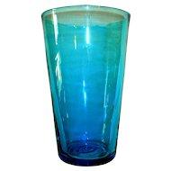 Vintage Blenko Turquoise Blue Beaker Vase