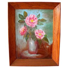 Pink Roses Still Life Oil on Canvas Board by Mary Patience