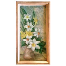Still Life of Spring Daffodils Oil on Canvas by Listed Artist Mary Gine Riley
