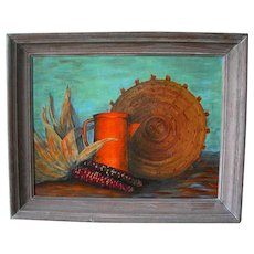 "Native American Glenn Jones Still Life of a Basket; titled ""Harvest Time"""