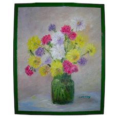 Vintage Bouquet Still Life Impressionist Oil on Canvas
