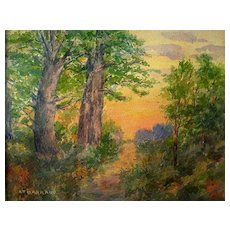 Antique Watercolor Landscape by Listed American Artist Alfred T. Barraud