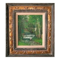 Antique American Impressionism Landscape Oil on Academy Board