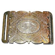 Romantic Era Victorian 9K Yellow Gold & Sterling Engraved Belt Buckle