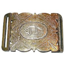 Aesthetic Era 9K Yellow Gold and Sterling Engraved Belt Buckle