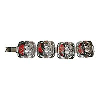 Arts & Crafts Half Moon Art Glass Chunky Bracelet