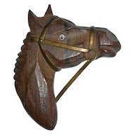 Vintage Wood & Brass Horse Head Brooch
