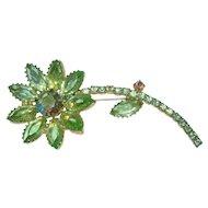 Vintage Green Crystal Rhinestone Flower Brooch
