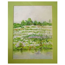 Swampland on Route 60, Florida Watercolor by I Brinkerhoff - Red Tag Sale Item