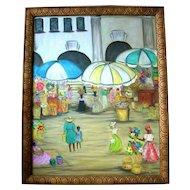Florida Artist Gloria Elizabeth Nolan Folk Art Market Scene