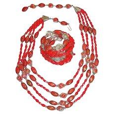 Vintage Signed Hobe Coral Red Gold Art & Crackle Glass Beads Demi Parure Necklace and Bracelet