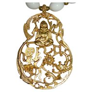 Vintage KENNETH © LANE Saks Exclusive Gilt Gold Buddha Pendant w/ Milk Glass Beads Necklace KJL