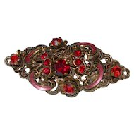 Vintage Pre-WWII Made in Germany Rhinestone & Enamel Brooch