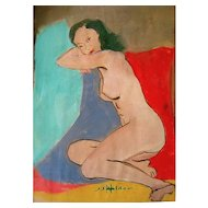 Nude Watercolor Signed J.J. Hilder