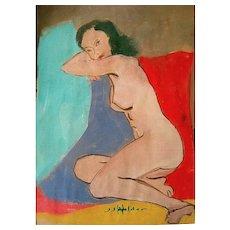 Nude Watercolor Signed J.J. Hilder