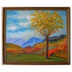 Adirondack Elm Oil on Board Landscape by Florida Artist Ruth E. Claxton