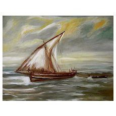 "Oil on Board ""The Dhow Charts Course"" signed Ociat"
