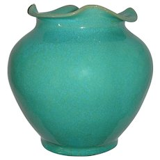 Rare North Carolina Royal Crown Pottery & Porcelain Company Aqua Blue Vase With Ruffled Lip