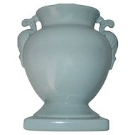 Vintage Circa 1940's Light Blue Ornate Handled Vase