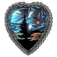 Vintage Island Scene Butterfly Wing Heart Shaped w/ Scalloped Edge Brooch
