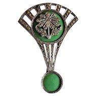 Art Nouveau Green Enamel & Marcasite 18K Brooch