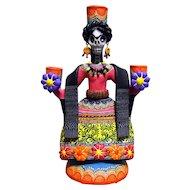 Frida Candle Holder signed by Mexican Folk Art Master Alfonso Castillo Orta