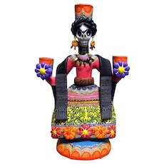 Frida Candle Holder signed by Mexican Folk Art Master Alfonso Castillo Orta