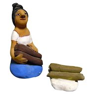 Vintage Mexican Folk Art Pottery Girl With Fire Wood signed by Josefina Aguilar