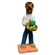 Vintage Mexican Folk Art Pottery Man With a Basket of Vegetables signed by Josefina Aguilar