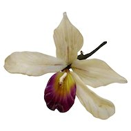 Vintage 1940's Glass Orchid Brooch
