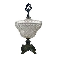 Elegant Pressed Glass Covered Candy Compote with Bronze Base & Finial