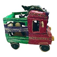 Vintage Mexican Folk Art El Diablos and the Bull Clay Sculpture