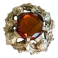 Vintage Faceted Amber Glass Thistle Sash Pin