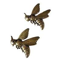 A Perfect Pair of Modernist Robert Zentall Brass Bee Pins