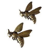 A Perfect Pair of Modernist Robert Zentall Brass Bee Pins