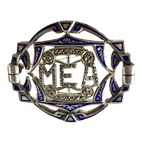 Art Deco Blue Enamel and Marcasite Sterling Monogram Brooch