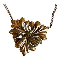 Arts and Crafts Brass Pinecone Necklace