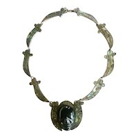 Early Mexico Carved Obsidian Face and Abalone Necklace