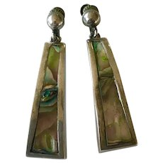 Vintage Taxco Mexico Sterling and Abalone Dangle Earrings