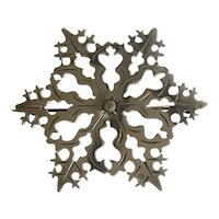 Arts and Crafts Era Silver Snowflake Brooch
