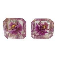 Vintage Lucite Encased Orchid Flower Earrings