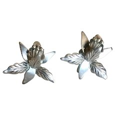 Vintage Eagle 3 Taxco Mexico Sterling Orchid Screw-back Earrings