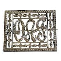 Art Nouveau Sterling with Marcasites Script Monogram Brooch
