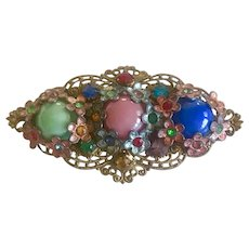 Vintage Colorful Czech Glass Brooch marked Czechoslovakia