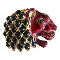 Rare Circa Early 1950s Signed Richelieu Lion's Head Brooch
