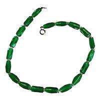 Deep Green Czech Glass Collar Necklace