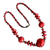 Vintage Red Carved Czech Glass Bead Necklace