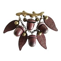 Early Unsigned Miriam Haskell Brass, Wood, Acorns, and Leaves Brooch