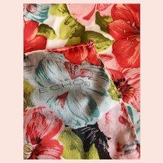 Vintage circa the 1980s, Echo, Silk Floral Scarf